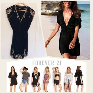 Forever21 embroidered & smocked swim coverup dress